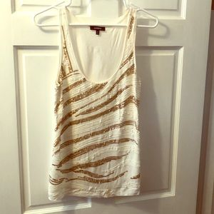 Express Gold and Cream Sequin Tank